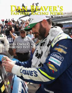 FORT WORTH, TX - APRIL 09: Jimmie Johnson, driver of the #48 Lowe's Chevrolet, puts the winner's sticker on his car after winning the Monster Energy NASCAR Cup Series O'Reilly Auto Parts 500 at Texas Motor Speedway on April 9, 2017 in Fort Worth, Texas. (Photo by Chris Graythen/Getty Images)
