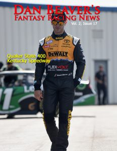 SPARTA, KY - SEPTEMBER 23: Daniel Suarez, driver of the #19 DEWALT FLEXVOLT Toyota, walks in the garage during practice for the NASCAR XFINITY Series VysitMyrtleBeach.com 300 at Kentucky Speedway on September 23, 2016 in Sparta, Kentucky. (Photo by Jonathan Moore/NASCAR via Getty Images)